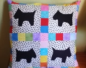 Applique Scotty Dog and Animal Print Pillow and Insert