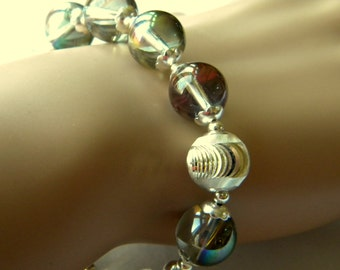 Glass Bubbles Bracelet with Silver Accent Bead