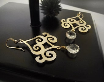 Chandelier Earrings - Quarz Crystal - Gold Scroll - Gold Dangle Earrings - Gold Swirl Earrings - Bridal Jewelry - Black Friday Deals