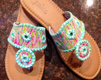 Hand Painted Sandals in the style of Jack Rogers with a Lilly Pulitzer inspired design.
