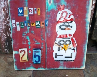 Funky SNOWMAN CHRISTMAS Advent Calendar - Teal Red Awesome Christmas Countdown - Recycled License Plate Art Upcycled Artwork