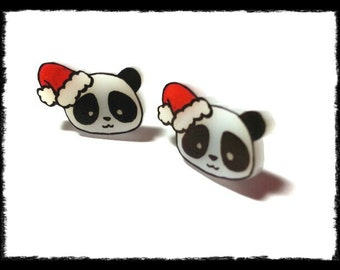 Christmas panda stud earrings. made to order