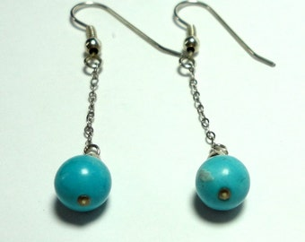 Genuine Turquoise Round Ball and Chain Earrings in Sterling