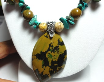 Turquoise Necklace Yellow Ochre Turquoise Pendant with Blue Turquoise and Jasper  Necklace and Sterling Silver