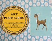 Postcard, Dapper Deer with Feathered Hat