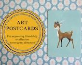 Postkarte, gefiederte Dapper Hirsch mit Hut