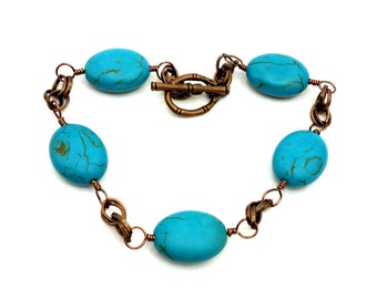 Wire Wrapped Magnesite and Antiqued Copper  Handmade Mobius Chainle Bracelet OOAK