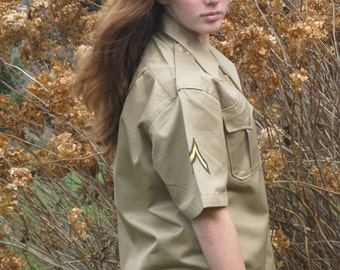 Military Shirt 1957 Authentic Issue New Old Stock Khaki 1950s Man Woman Unused Genuine Military NOS Nice Vintage Gift