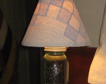 Blue Mason Jar Lamp W Quilt Shade Antique Rustic Lighting NEW Electric Farmhouse Cottage Cabin Decor Primitive DIY U Fill Canning Jar