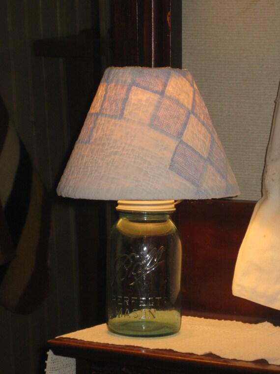 blue mason jar lamp handmade quilt shade antique rustic lighting new. Black Bedroom Furniture Sets. Home Design Ideas