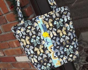 Large Tote Bag, Womens Purse, Butterfly Printed Tote, Book Bag, Teachers Tote,  Diaper Bag