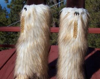 Beautiful Fox Faux Fur Leg Muffs with Gold