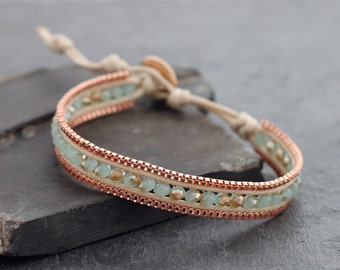 Chalcedony Faceted Copper Bracelet