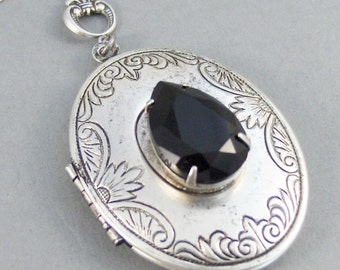Midnight,Locket,Antique Locket,Silver Locket,Black,Black Stone,Black Rhinestone,Vintage Rhinestone,Black Locket,Noir.Valleygirldesigns.