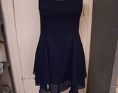 Vtg Navy Blue Ruffled Dress, Flirty Double Ruffle, Size 12, Low Scooped Back, Very Cute