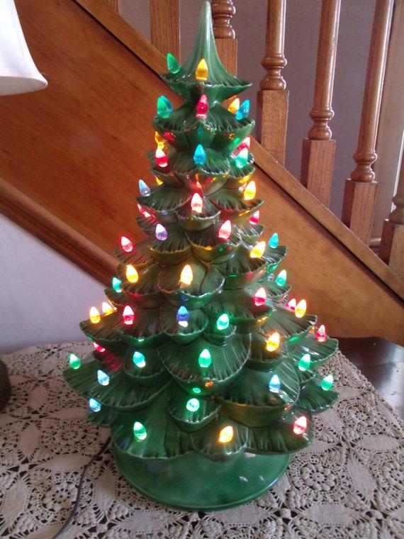 Large Vintage Ceramic Christmas Tree W Music Box Plays I M