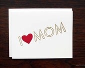 I Heart Mom Mother's Day Letterpress Greeting Card - red & gold by kbatty