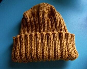 Golden Mustard Knitted Hat for Women