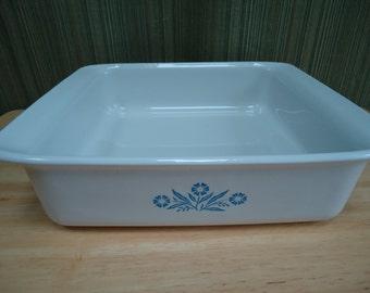 Vintage Corning Ware Square Blue Cornflower Pattern Baking/Casserole Dish