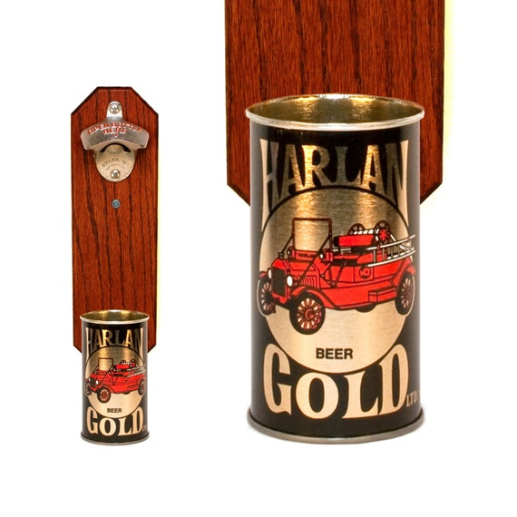 Wall Mounted Bottle Opener With Vintage Harlan Gold By
