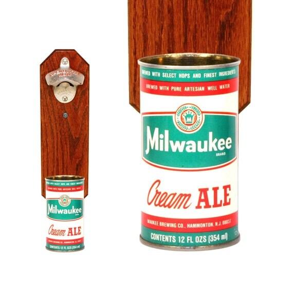 Cap Catcher Bottle Opener With Vintage Milwaukee Brand By Handysam