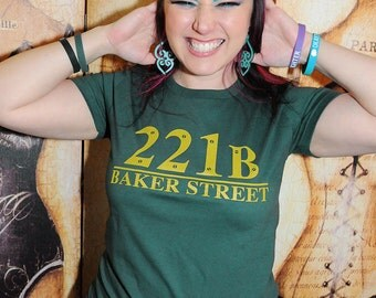 221B Baker Street.  Women's fitted American Apparel fitted sizes small and large