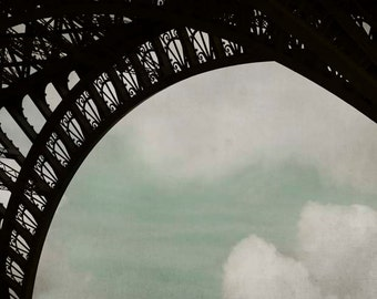 Eiffel Tower Print, Paris Photography, Black, Blue, White, Architecture, Large Wall Art, Industrial, Paris Print