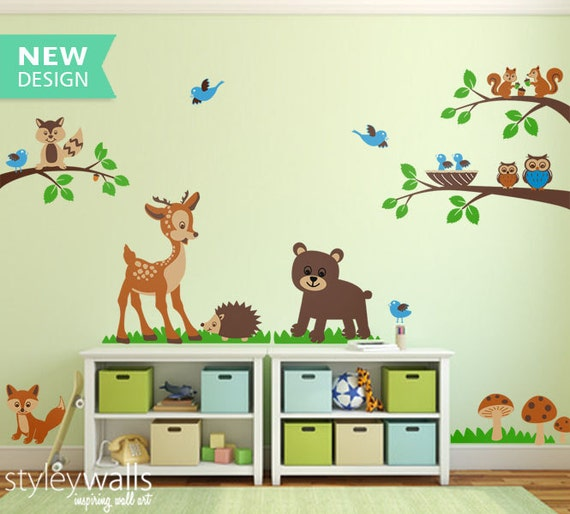 forest animals wall decal tops woodland critters children wall. Black Bedroom Furniture Sets. Home Design Ideas