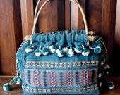 Vintage Woven Purse // Handbag // Native American // Pompoms / Beaded // Handmade // Boho // Hippie // Indian //