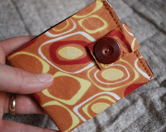 Thin billfold wallet - vintage orange, rust and gold squares - with coin pocket FREE SHIPPING