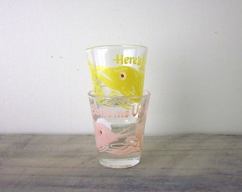 Vintage Fishing Shot Glasses Set of Two in Pink and Yellow