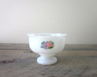 Milk Glass Footed Dish Planter with Pink Floral Design
