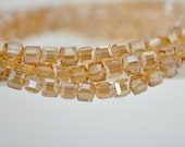 95pcs Cube Crystal Glass Faceted beads 3mm Square Champagne -FZ0308