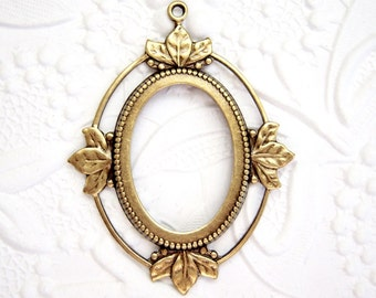 1 - 25x18mm antiqued brass floating leaf setting - BS183