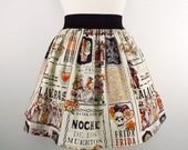 Frida and Day of the Dead A-Line Skirt / Pleated Day of the Dead Skirt