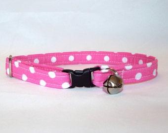 Pink Dot Fabric Kitty Collar