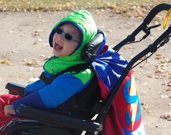 Superhero Cape Personalized Letter Wheelchair Custom Colors , 2T - 7T, super hero costume birthday gift quick ship