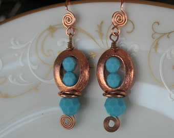 Handmade dangle earrings- copper and turquoise swarovski crystal  dangle earrings