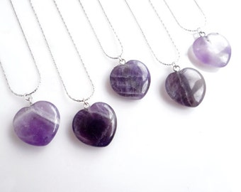 Amethyst Heart Necklace, Birthstone Necklace, Amethyst Jewlery, Bridesmaid Necklace, Mothers necklace