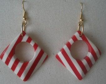 Swinging Summer Red and White Stripe Earrings
