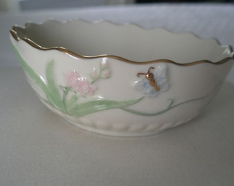 Ivory Fine China LENOX Butterfly Bowl with 24 Karat Gold Accents and Hand Painted