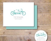 Wedding Thank You Cards,  Bridal Shower, Thank You Cards, Tandem Bike, Just Married, Affordable Wedding, Bicycles, Wedding, Outdoor Wedding