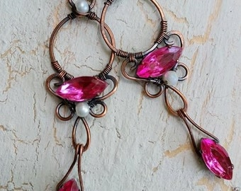 pink crystal earring in copper