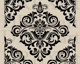 DAMASK Stencil - 12 x 12 - 7 mil Mylar - Durable and Reusable