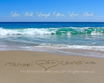 Unique Wedding Gift - Names written in real sand, with a saying in the sky.- Housewarming Gift - Ocean picture - Beach Cottage