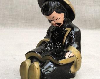 Vintage Asian Ceramic Figurine, Child, Youth Figurine, Mid-Century, Antique Figurine of Children, Traditional Costume