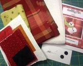 Sledding Fun Snowman Tea Towel Kit with Pattern