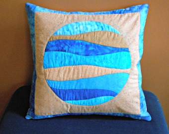 Quilted Pillow Cover -- Porthole Tan Backing