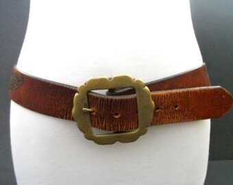 FREE SHIPPING Vintage Tooled Embossed Leather Belt Hippie Biker Size 34