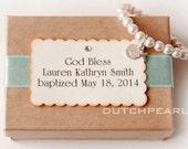 Personalized religious kids jewelry bracelet with cross - - baptism  - god bless baby girl pearl bracelet - baby jewelry